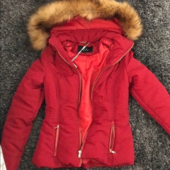 Red Parka With Fur Hood